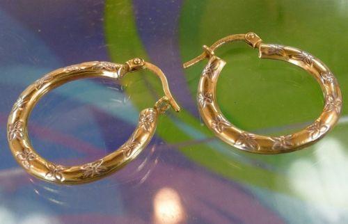 """Hoop Earrings : Gold Vermeil Over Sterling Etched Flowers : Designer """"Mom Jordan"""