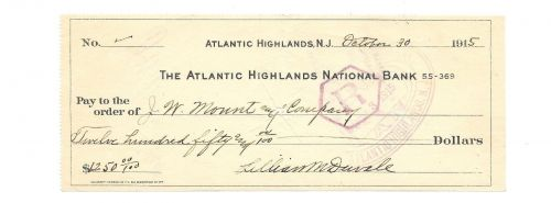 $1,250.00 Check 1915 To J.W. Mount & Company~Atlantic Highlands Bank N.J.~Fr/Shi