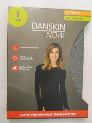Danskin Now Gray Performance Baselayer Tagless Brushed Crew Neck Top M 8-10