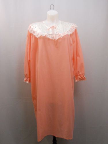 Kelly Reed Vintage Nightie Size 24W Split Neck Lace Embroidered Yoke 3/4 Sleeves