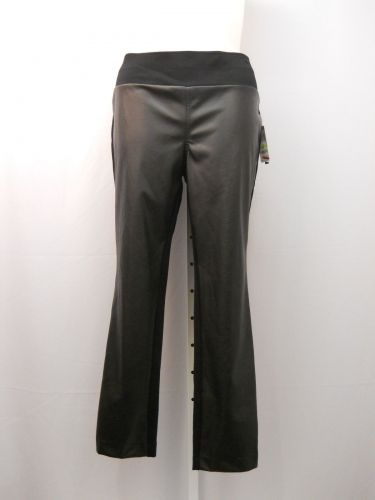 INC Leggings Plus Size 18W Black Faux Leather Front Elastic Waist Skinny Leg