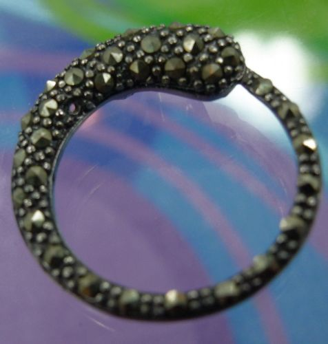 """Eternity Pendant : Marcasite Pave """"A"""" Sterling Thailand : Snake"""