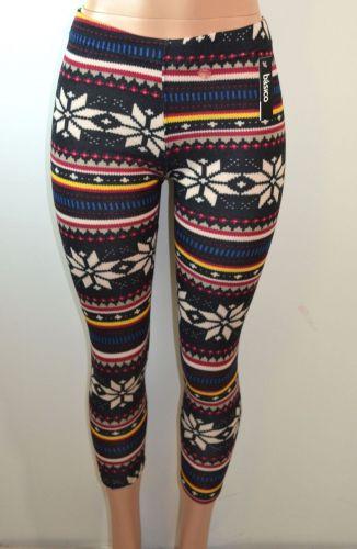 Baslco Fair Isle Print High Waist Leggings,Black Multicolored,One Size