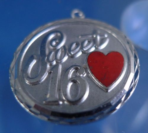 "VINTAGE ""SWEET 16"" BIRTHDAY CHARM w/ RED ENAMEL HEART"