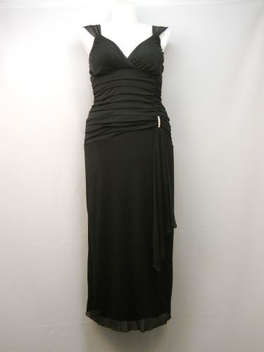 Enfocus Women's Formal Party Prom Dress Size 12 Black Chiffon Ruched Bodice