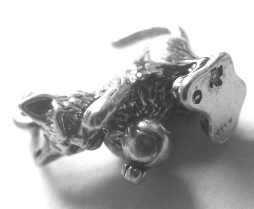 Vintage Sterling Signed Charm : Cat or Kitten w/ a Ball