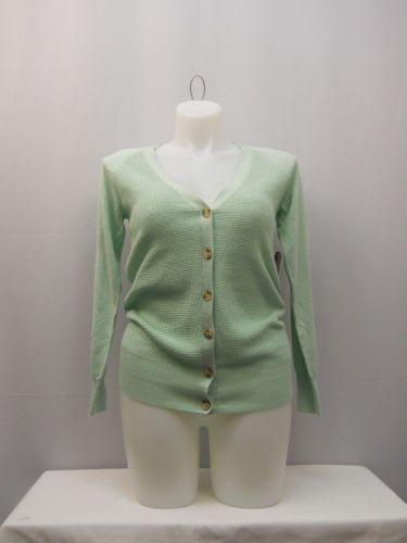 Faded Glory Women's Cardigan Size S Boyfriend Cut Button V-Neck Solid Green