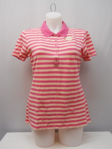 Faded Glory Women's Activewear Polo Shirt Size 20 Striped Pink Short Sleeves