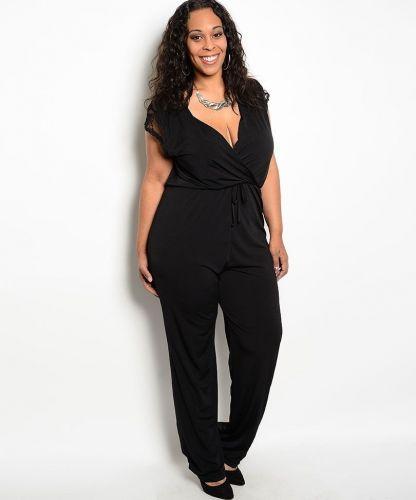 H.B.G.B. Black Wrap Front Lace Cap Sleeves Straight Legs Jumpsuit Size 1X-3X