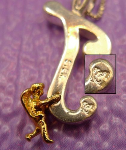 """Signed Sterling Initial Pendant : Angel Holding Letter """" J Or T """" // 18"""" Chain"""