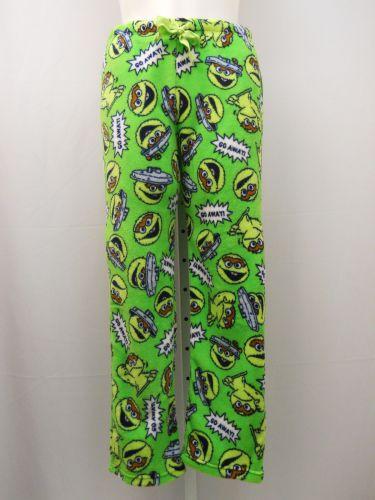 Sesame Street Ladies PJ Sleep Pants Size L Plush Fleece Sleepwear Green Bottoms