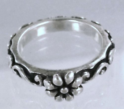 sz 6 RING : sterling silver FLOWER wedding band w/ SCROLL WORK BAND by BARSE