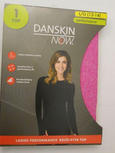 Danskin Now Pink Performance Baselayer Tagless Brushed Crew Neck Top L 12-14