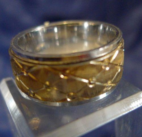 sz 9 Ring : Sterling 925 Silver Golden Center Spinning Wedding Band DGS Turkey