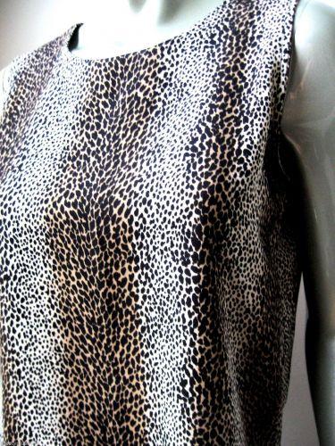 Notations NEW Leopard Rear Keyhole Side Slits Sleeveless Poly Tank Top Cami S PR