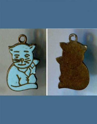 vintage ENAMEL ON SILVER CHARM : BLUE CAT KITTY / NO MARKS