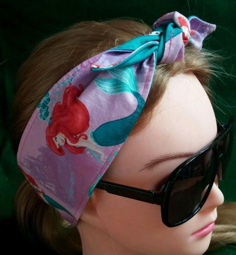 Headband Hair Wraptie Bandana Little Mermaid Print 100% Cotton hand made