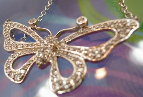 Necklace: Sterling 925 Silver Pave Cz Butterfly / 16 Total Inches / Great Gift