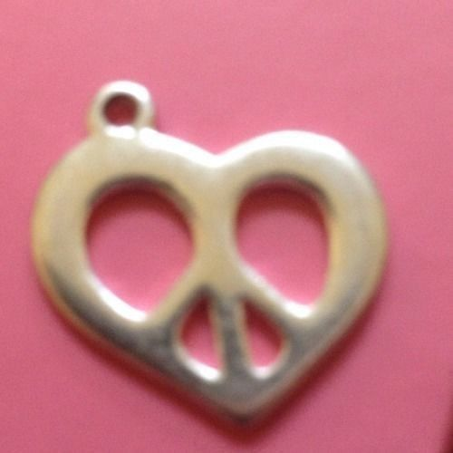 vintage Silver Hippie Peace Sign Heart Charm