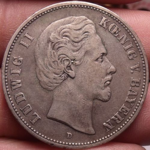 Rare Silver Bavaria (German States) 1876-D 5 Marks~Excellent~Free Shipping