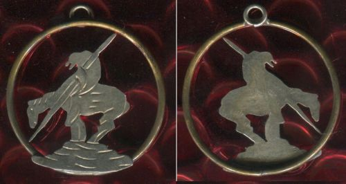 vintage END OF THE TRAIL INDIAN on HORSE CHARM: UNKNOWN METALS