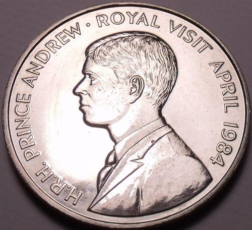 Gem Unc Saint Helena 1984 50 Pence~Royal Visit OF Prince Andrew~Free Shipping