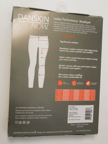 Danskin Now White Ladies Performance Baselayer Leggings Size M 8-10 Tagless