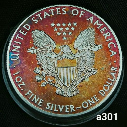 2015 Rainbow Toned Silver American Eagle 1 ounce fine silver uncirculated #a301