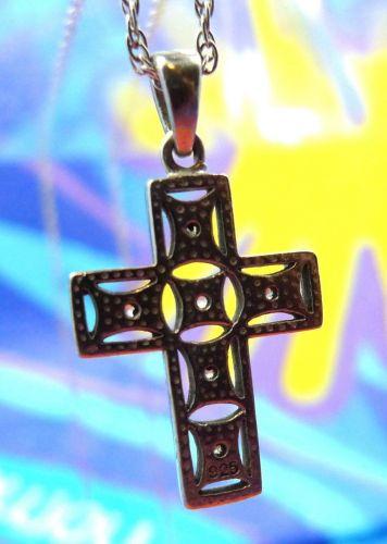 "Cross Pendant Sterling 925 Silver & Rhinestone on 30"" Rope Sterling Chain"
