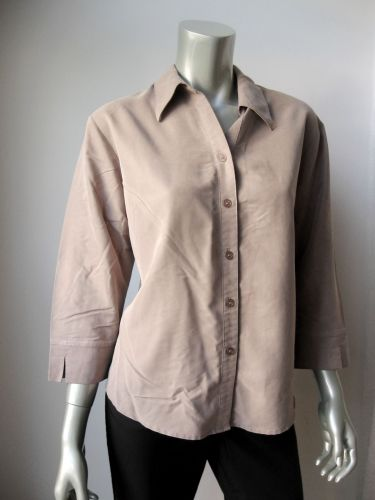Apparenza NEW Women'ts Taupe Silk Feel Solid 3/4 Sleeves Button Down Shirt L PR