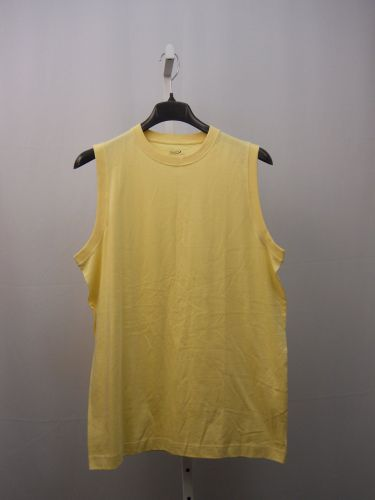 SIZE L Sport Mens Muscle T-Shirt ROUNDTREE & YORKE 100% Cotton Solid Yellow