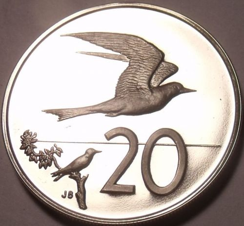 Large Proof Cook Islands 1975 20 Cents~Fairy Tern~Only 21,000 Ever Minted~Fr/Shi