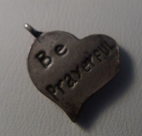 3 vintage Inspirational Sterling Heart Charms : Be Prayerful - Be True - Be Sti