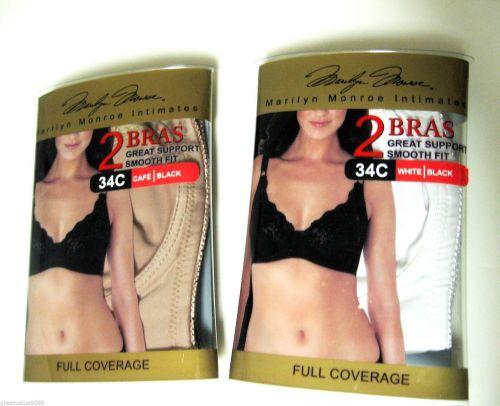 XB013 Marilyn Monroe Everyday Lace Trim Soft Cups UW Bra MM2154 2-Bra-Set New