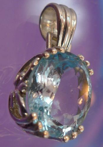 Vintage Sterling Blue Topaz Oval Gemstone Pendant Marked China - Great Bezel