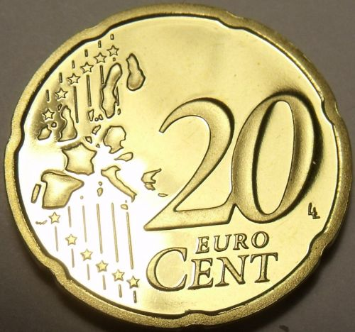 Cameo Proof Germany 2004-G 20 Euro Cents~Karlsruhe Mint~Cameo~Free Shipping~