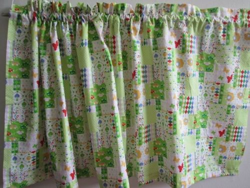 Patchwork Kitchen Fabric Curtain Valance,Choose Colors Green or Blue 18 x44 inch