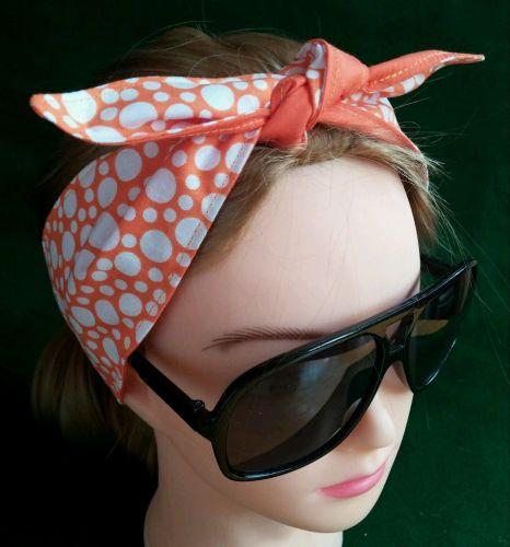 Headband Hair Wraptie Bandana Polka Dot Print 100% Cotton hand made