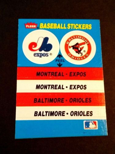 VINTAGE EXPOS-ORIOLES FLEER BASEBALL COLLECTORS STICKER GD-VG