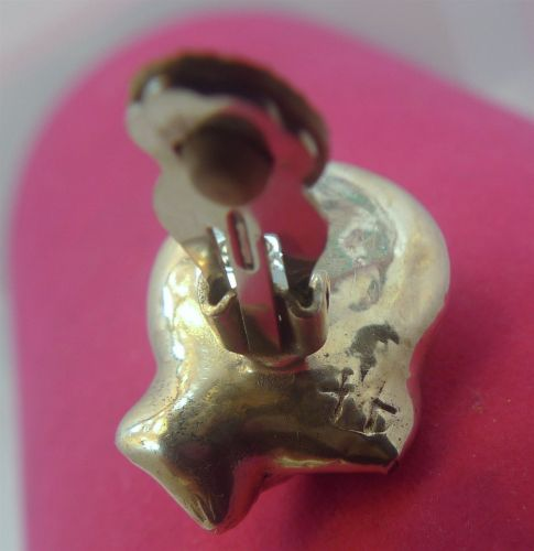 Clip Earrings : Vintage Puffy Forgotten Hot Wax Mold Sterling Clips - Signed
