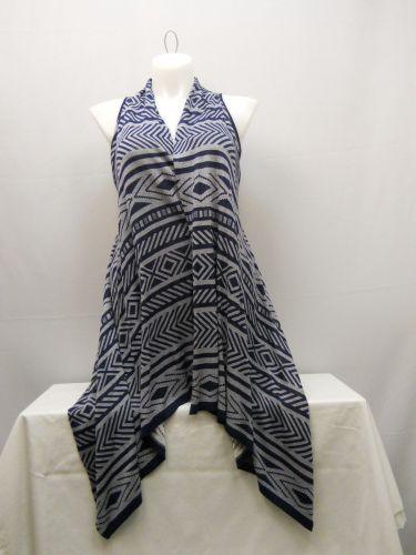 Women's Wrap Scarf Vest Size XL COMO VINTAGE Navy Geometric Asymmetrical Hem