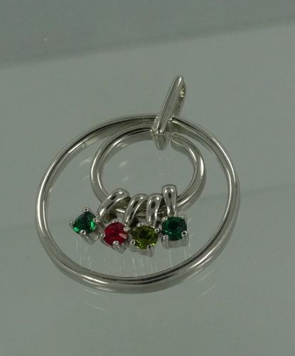 Vintage Sterling Mother's Circle Pendant W/ 4 Hanging Birth Stones Signed H