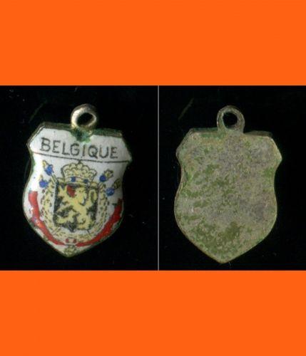 BELGIQUE Enamel & Silver Travel Shield Souvenir Charm