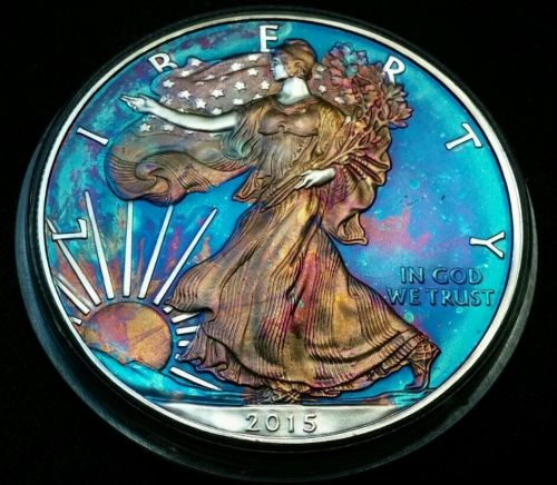 2015 Rainbow Toned Silver American Eagle 1 ounce fine silver uncirculated #a196