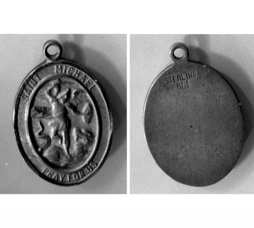 St Michael Slaying The Dragon - Pray For Us Sterling Silver Medal By BLI