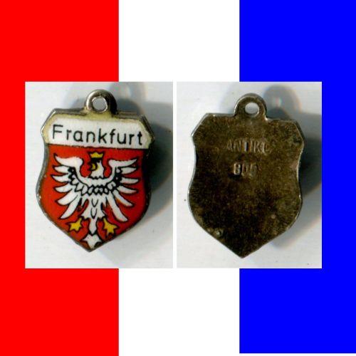 FRANKFURT 2 Enamel & Silver Travel Shield Souvenir Charm