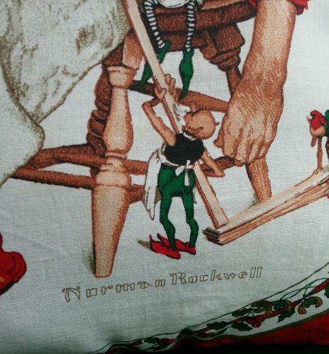 Throw Pillow Norman Rockwell Santa handmade New