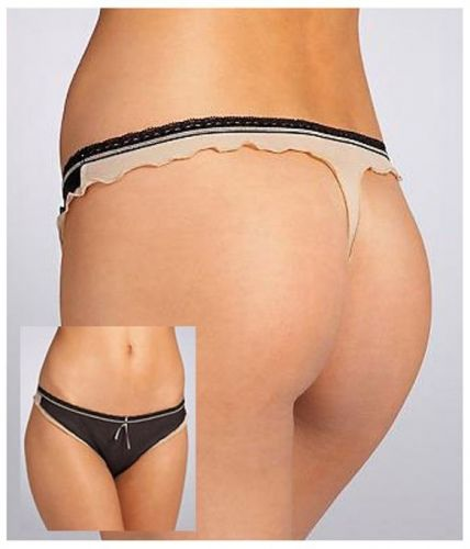A175T DKNY 476711 Soft Sheer Mesh Flirty Layers Low Rise Lace Waistbnd Thong New