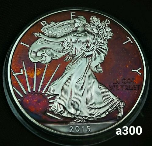2015 Rainbow Toned Silver American Eagle 1 ounce fine silver uncirculated #a300