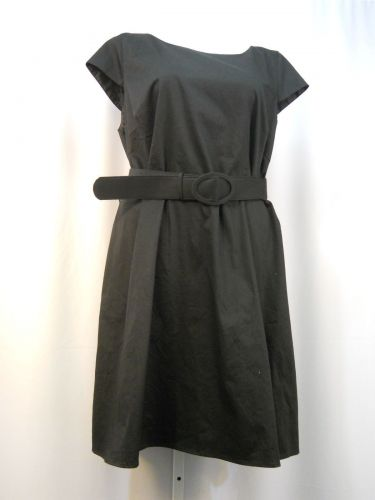Spense Dress Plus Size 24W Solid Black Cap Sleeves Scoop Neck Belted Button Back